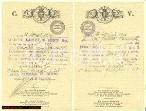 1924 TREVISO Banca Nazionale di Credito - Vendita titoli barone FRANCHETTI
