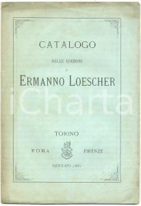 1881 TORINO Catalogo edizioni Ermanno LOESCHER proprie e in deposito *RARO