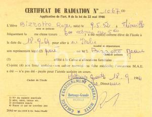 1964 CERTIFICAT DE RADIATION HETTANGE GRANDE