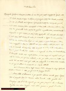 1857 Rapporto manoscritto su GIROLAMO BARUFFALDI