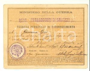1914 Cavalleggeri di Saluzzo, tessera ferroviaria
