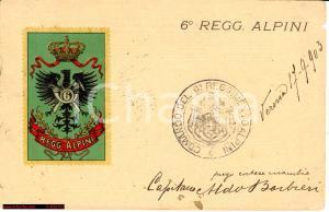 1903 Cartolina 6° Reggimento Alpini *Rara d'epoca