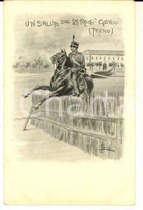1900 ca REGIO ESERCITO Cartolina 2° Reggimento GENIO (TRENO) ILLUSTRATA
