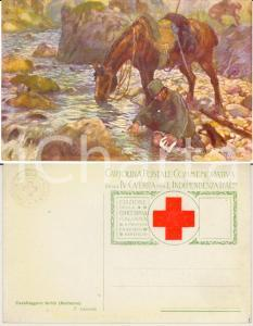 1935 ca CROCE ROSSA Cavalleggero ferito su NATISONE Tommaso CASCELLA *Cartolina
