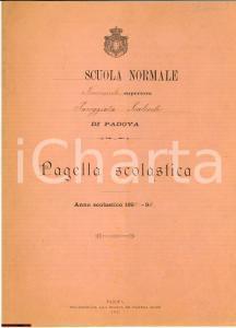 1894 Pagella Scuola Normale Padova *BOSCARO Rosa