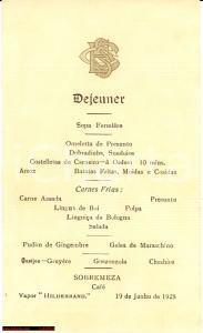 1928 Vapore HILDEBRAND Menù del pranzo