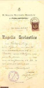 1906 VALFREDO CARDUCCI Pagella con autografo