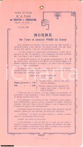 1910 Padova Sanatorio TIAN Sciatica *Norme invio poveri