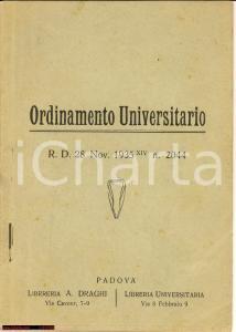 1935 Regio Decreto ORDINAMENTO UNIVERSITARIO