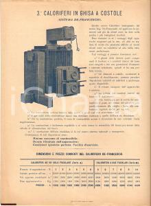 1920 circa MILANO Caloriferi aria calda DE FRANCESCHI