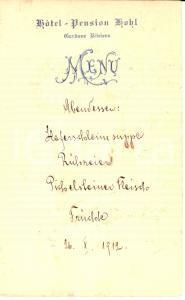 1912 GARDONE RIVIERA (BS) Menù dell'Hotel Pensione KOHL *Manoscritto