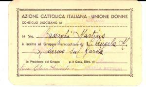 1935 BRESCIA AZIONE CATTOLICA Unione Donne Tessera Lina Elena ARRIVABENE