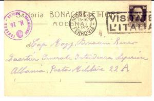 1941 MODENA Sartoria Ettore BONACINI al figlio militare in Albania *Cartolina FP