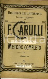 1910 ca Ferdinando CARULLI Metodo completo per chitarra - 1^ parte *Ed. RICORDI
