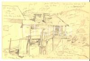 1960 FRANCIA Bozzetto a matita di paesaggio alpino con case *Disegno 24x16 cm