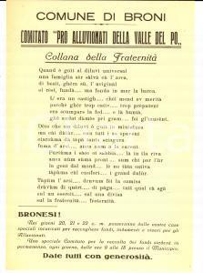 1951 BRONI (PV) Comitato pro alluvionati VALLE DEL PO Manifesto dialetto pavese