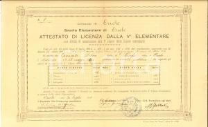 1905 ORIOLO (CS) Diploma di licenza elementare per Libero ACCIARDI
