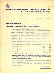 1940 BIELLA RACI Rinnovo delle licenze speciali di circolazione *Lettera