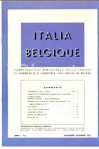 1957 MILANO ITALIA BELGIQUE  Anno I n° 1 Rivista Camera di Commercio Italo-Belga