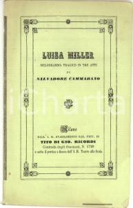 1855 ca Salvadore CAMMARANO Luisa MILLER *Libretto Tito RICORDI RARO