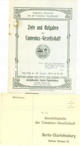 1914 BERLIN Ziele und Aufgabe der COMENIUS-GESELLSCHAFT *Opuscolo