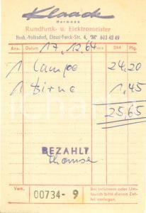 1960 ca HAMBURG Klaack Hermann Rundfunk- u. Elektromeister *Ricevuta