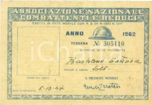 1947 VERCELLI Antenore BARBANO Associazione Combattenti e Reduci *Tessera
