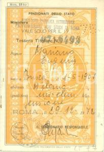 1975 MILANO Eugenia MARIANO insegnante elementare Libretto riduzioni ferroviarie