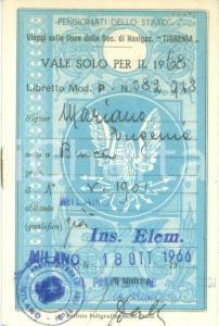 1968 MILANO Eugenia MARIANO insegnante elementare Libretto riduzioni ferroviarie