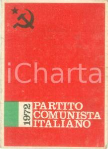 1972 PARTITO COMUNISTA ITALIANO Tessera annuale con marca