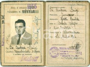 1955 ALESSANDRIA FERROVIE DELLO STATO Macchinista Luigi DE ANDREA Tessera