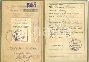 1955 ALESSANDRIA FERROVIE DELLO STATO Nicoletta DE ANDREA Tessera riconoscimento