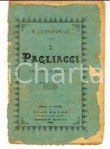 1898 Ruggero LEONCAVALLO I pagliacci - Dramma in due atti *Libreria LA TEATRAL