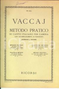1945 Nicola VACCAJ Metodo pratico di canto italiano per camera *Ed. RICORDI