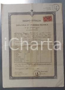 1923 DESENZANO (BS) Scuola tecnica pareggiata - Licenza di Giovanni VALENTI