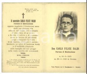 1945 MONTESCHENO (VB) Morte parroco don Carlo Felice BALDI *Santino