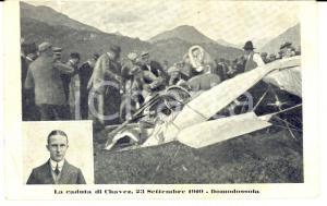 1910 DOMODOSSOLA (VB) Concorso aereo e caduta mortale Geo CHAVEZ *Cartolina