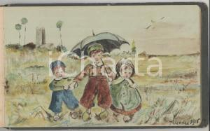 1916-1923 Album 22 disegni PIACENZA - VILLA RAVERIO - QUARTO D'ASTI *A MANO