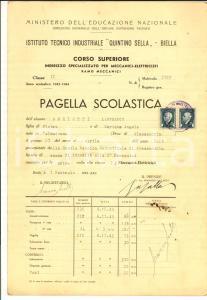 1944 BIELLA Istituto tecnico 'Quintino Sella' *Pagella di Lanfranco AMELOTTI