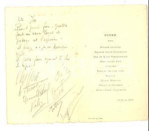 1914 CAEN (F) Menù per una cena con firme dei commensali *VINTAGE