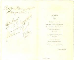 1914 CAEN (F) Menù di una cena con firme dei commensali *VINTAGE