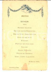 1914 CAEN (F) Menu d'un restaurant pour un diner *VINTAGE 10x15 cm