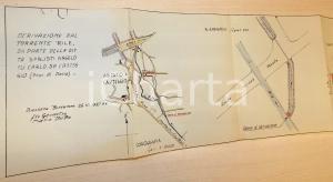 1937 BRESSANA BOTTARONE Planimetria derivazione torrente RILE ditta DABUSTI
