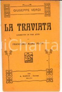 1925 Giuseppe VERDI La Traviata - Melodramma *Libretto Ed. BARION MILANO