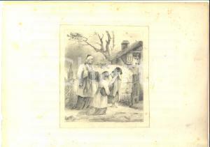 1930 ca San Carlo BORROMEO consola bambina in miseria *Disegno A MATITA