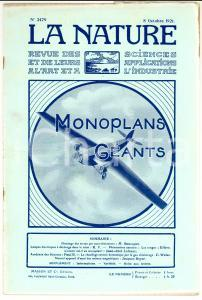 1921 LA NATURE Monoplans géants *Rivista ILLUSTRATA n° 2479