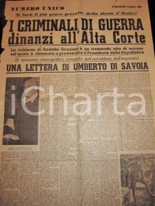 1948 NUMERO UNICO Processo a Rodolfo GRAZIANI criminale di guerra *DANNEGGIATO