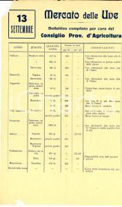 1950 ca Provincia di TRENTO - MERCATO DELLE UVE *Bollettino prezzi 13 settembre