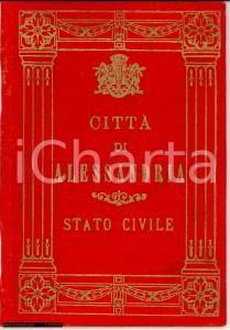 1925 ALESSANDRIA Elegante libretto stato civile