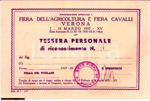 1937 VERONA Fiera agricoltura e cavalli TESSERA